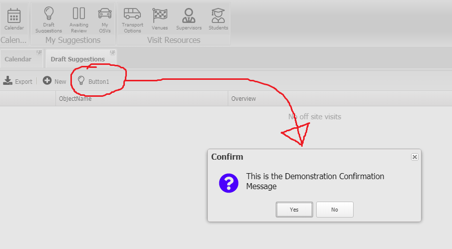 Form Action Message Confirmation